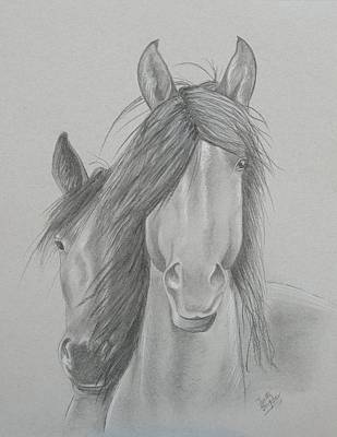 Two Wild Horses Print by Joette Snyder