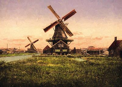 Two Windmills Print by John K Woodruff