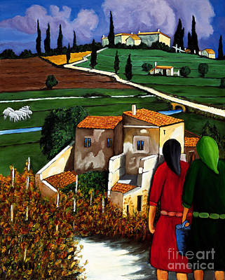 Two Women And Village Sheep Print by William Cain
