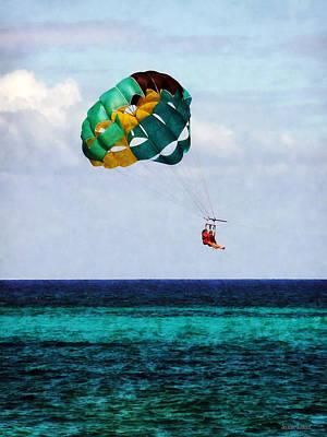 Two Women Parasailing In The Bahamas Print by Susan Savad