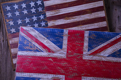 Two Wooden Flags Print by Garry Gay
