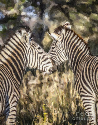Zebra Digital Art - Two Zebras Equus Quagga Nuzzlling by Liz Leyden