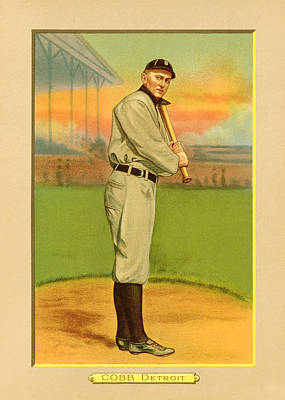 Ty Cobb Baseball Card Portrait Print by Gary Bodnar