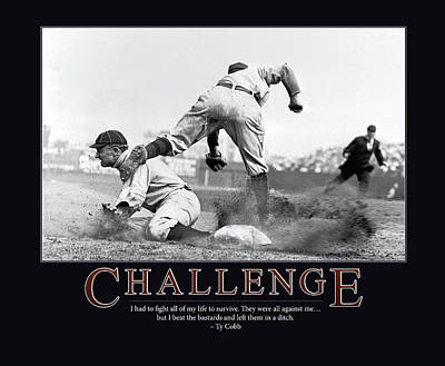 Slide Photograph - Ty Cobb Challenge  by Retro Images Archive