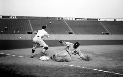 Ty Cobb Sliding Into Third Base 1924 Print by Mountain Dreams