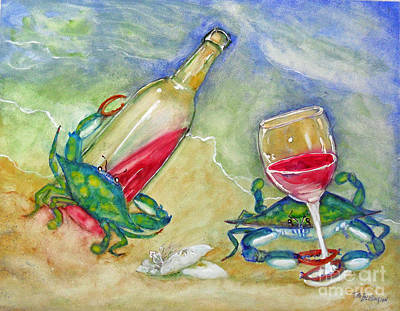 Blue Crab Painting - Tybee Blue Crabs Tipsy by Doris Blessington