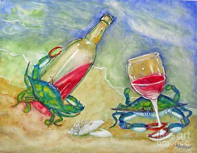 Tybee Blue Crabs Tipsy Print by Doris Blessington