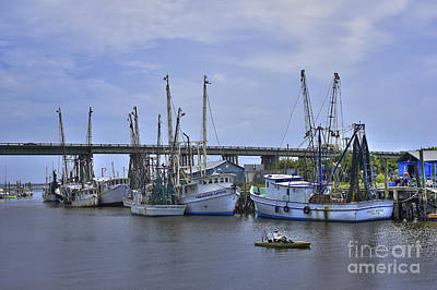 Drive By Fishing Tybee Island Shrimp Boats Route 80 Print by Reid Callaway