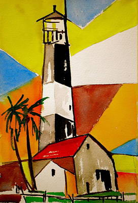 Abstract Seascape Drawing - Tybee Lighthouse by Pete Maier