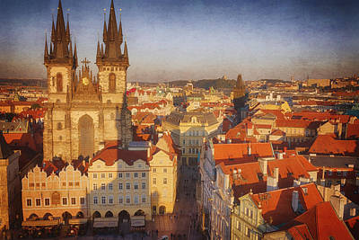 Tyn Church Old Town Square Print by Joan Carroll