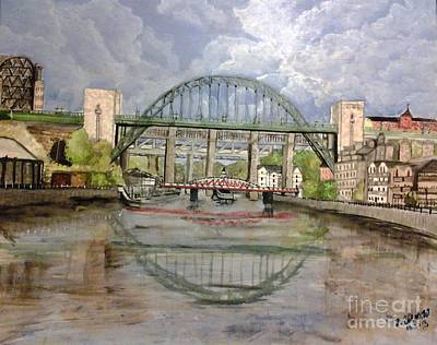 Northumberland Painting - Tyne Bridge By Fiona Glass W by Fiona Glass W
