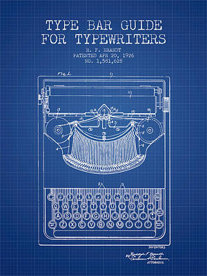 Type Bar Guide For Typewriters Patent From 1926 - Blueprint Print by Aged Pixel