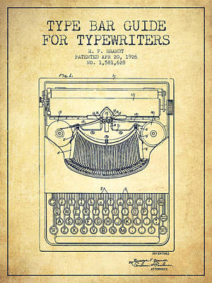 Type Bar Guide For Typewriters Patent From 1926 - Vintage Print by Aged Pixel