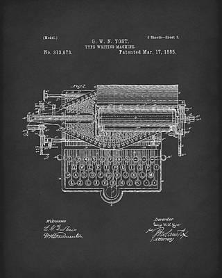 Typewriter Drawing - Type Writer 1885 Patent Art Black by Prior Art Design