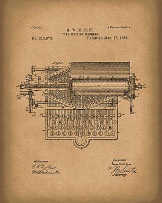 Typewriter Drawing - Type Writer 1885 Patent Art Brown by Prior Art Design