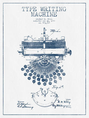 Typewriter Drawing - Type Writing Machine Patent Drawing From 1897 - Blue Ink by Aged Pixel