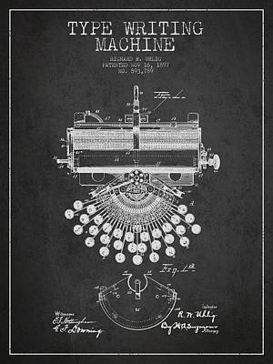 Typewriter Drawing - Type Writing Machine Patent Drawing From 1897 - Dark by Aged Pixel