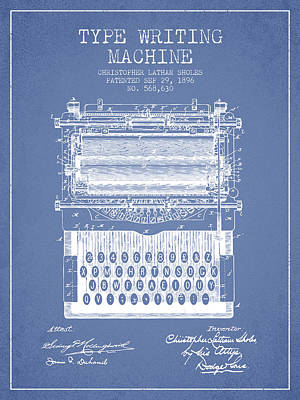 Type Writing Machine Patent From 1896 - Light Blue Print by Aged Pixel