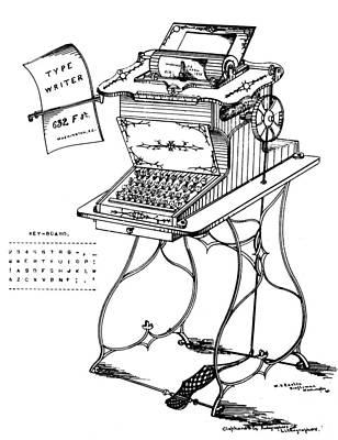 Typewriter Drawing - Typewriter, 1875 by Granger