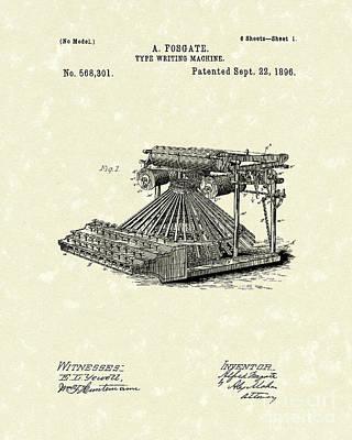 Typewriter Drawing - Typewriter 1896 Patent Art by Prior Art Design