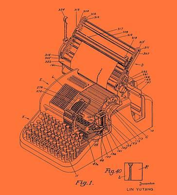 Typewriter Drawing - Typewriter Patent 1952 by Mountain Dreams
