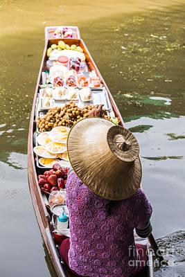 Thailand Photograph - Typical Boat At Damnoen Saduak Floating Market by Matteo Colombo
