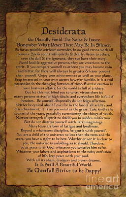 Typography Art Desiderat On Medieval Stone Tablet  Print by Desiderata Gallery