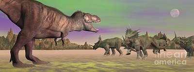 Anger Digital Art - Tyrannosaurus Attacking Styracosaurus by Elena Duvernay