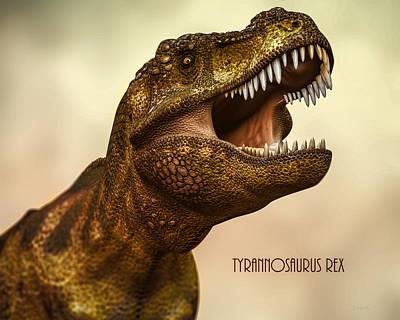T-rex Digital Art - Tyrannosaurus Rex 3 by Bob Orsillo