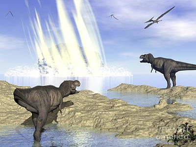 Tyrannosaurus Rex And Pteranodons Watch Print by Elena Duvernay