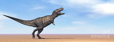 Anger Digital Art - Tyrannosaurus Rex Dinosaur Standing by Elena Duvernay