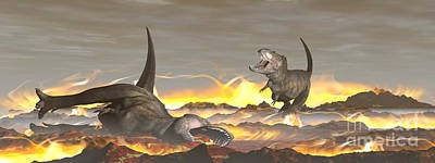 Anger Digital Art - Tyrannosaurus Rex Dinosaurs Dying by Elena Duvernay