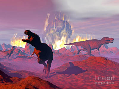 Anger Digital Art - Tyrannosaurus Rex Dinosaurs Escaping by Elena Duvernay