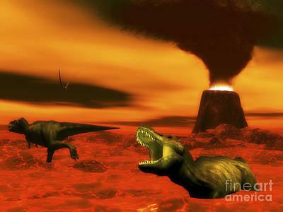 Tyrannosaurus Rex Dinosaurs Struggle Print by Elena Duvernay