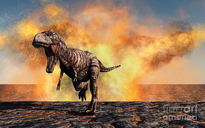 Anger Digital Art - Tyrannosaurus Rex Escaping by Mark Stevenson