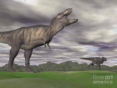 Anger Digital Art - Tyrannosaurus Rex Growling As A Fellow by Elena Duvernay