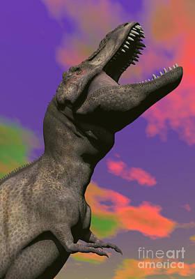 Anger Digital Art - Tyrannosaurus Rex Roaring by Elena Duvernay