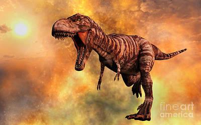 Anger Digital Art - Tyrannosaurus Rex Running From A Deadly by Mark Stevenson
