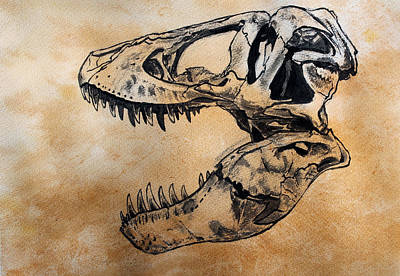 Dinosaur Painting - Tyrannosaurus Skull by Harm  Plat