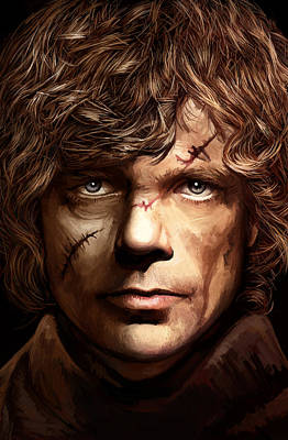 Movie Mixed Media - Tyrion Lannister - Peter Dinklage Game Of Thrones Artwork 2 by Sheraz A