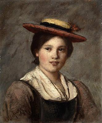 Tyrolean Dirndl With Straw Hat Print by Franz Von Defregger