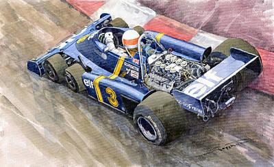 Motor Racing Painting - Tyrrell Ford Elf P34 F1 1976 Monaco Gp Jody Scheckter by Yuriy  Shevchuk