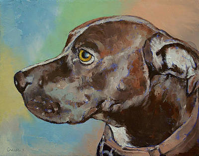 Abstract Dog Painting - Tyson by Michael Creese