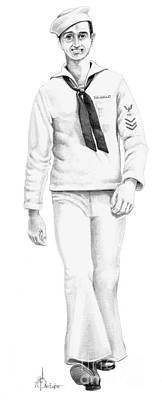 Us Navy Drawing - U S Navy Sailor by Murphy Elliott