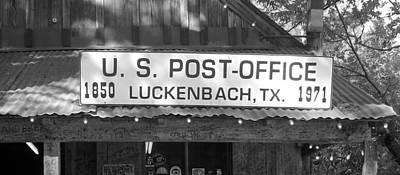 Luckenbach Photograph - U S Post Office Luckenbach Texas Sign Bw by Elizabeth Sullivan