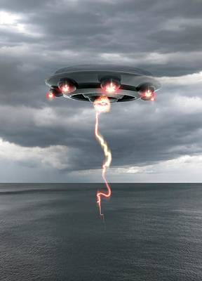 Unidentified Photograph - Ufo Above The Water by Victor Habbick Visions