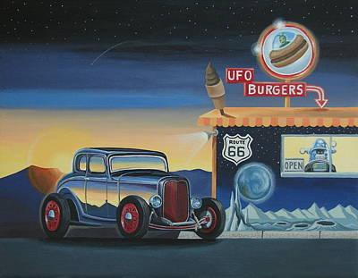 Drive-ins Painting - U.f.o. Burgers by Stuart Swartz