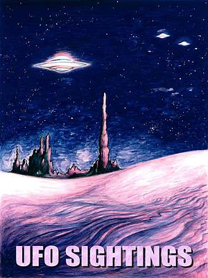Space Ships Drawing - Ufo Sightings - Alien Space Poster by Art America Online Gallery