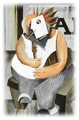 Uilleann Piper Print by Val Byrne