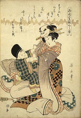 E 20 Drawing - Ukiyo-e. Album With 52 Prints. No 20 by Utagawa Kunisada